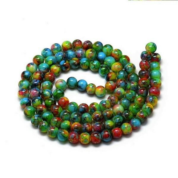 30 perles ronde en verre peint fabrication bijoux 8 mm MARBRE VERT JAUNE MARRON - Photo n°1
