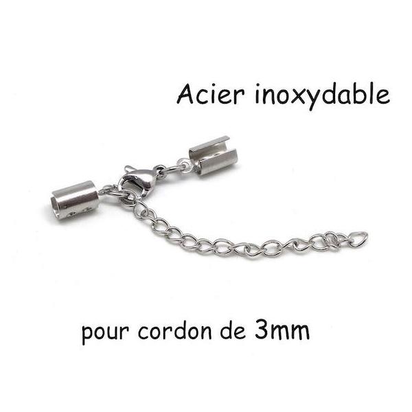 Fermoir Serre Fil Avec Mousqueton Pour Cordon De 3mm En Acier Inoxydable Argenté - Photo n°1