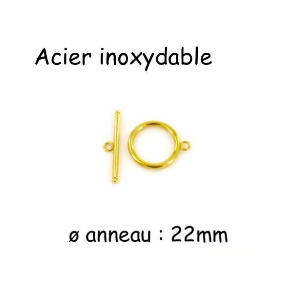Grand Fermoir Toggle Doré En Acier Inoxydable 22mm - Fermoir Bascule Doré - Fermoir En T - Photo n°1