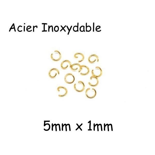 20 Anneaux De Jonction Doré 5mm Résistant En Acier Inoxydable 5mm X 1mm - Anneaux Ouverts - Photo n°1