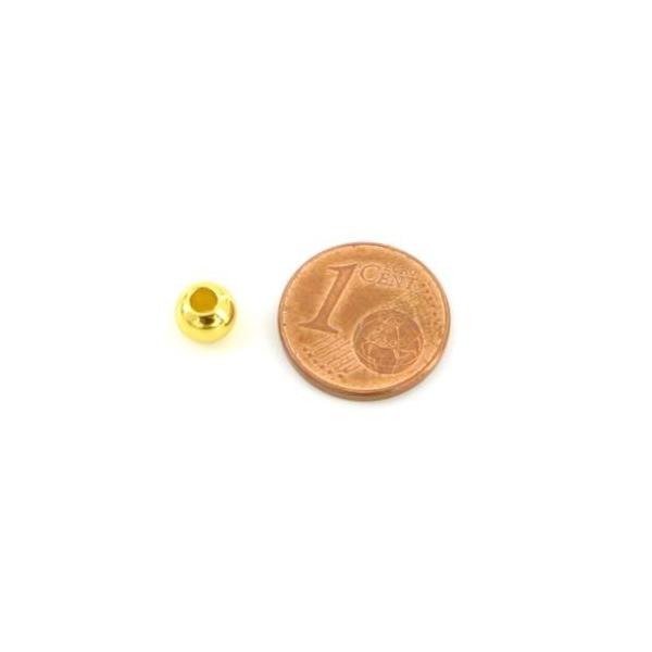 10 Perles Ronde 6mm Doré En Acier Inoxydable Couleur Or - Trou 2mm - Photo n°2
