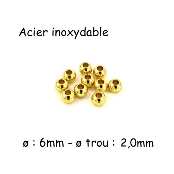 10 Perles Ronde 6mm Doré En Acier Inoxydable Couleur Or - Trou 2mm - Photo n°1