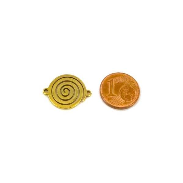 2 Perles Connecteur Spirale En Acier Inoxydable Doré - Photo n°2