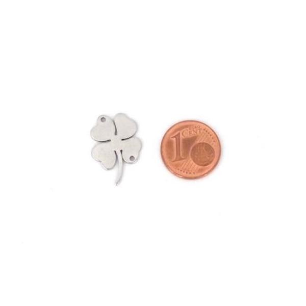4 Perles Connecteur Trèfle Porte Bonheur À 4 Feuilles En Acier Inoxydable Argenté - 15 X 13mm - Photo n°2