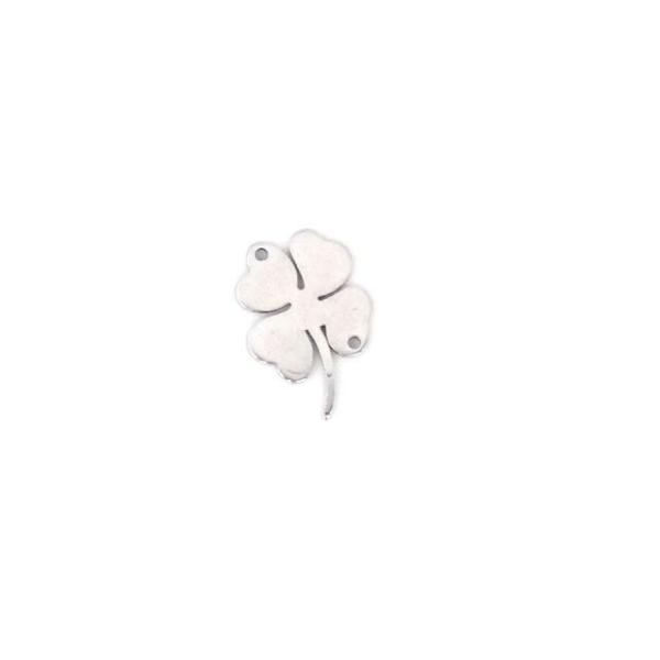 4 Perles Connecteur Trèfle Porte Bonheur À 4 Feuilles En Acier Inoxydable Argenté - 15 X 13mm - Photo n°3