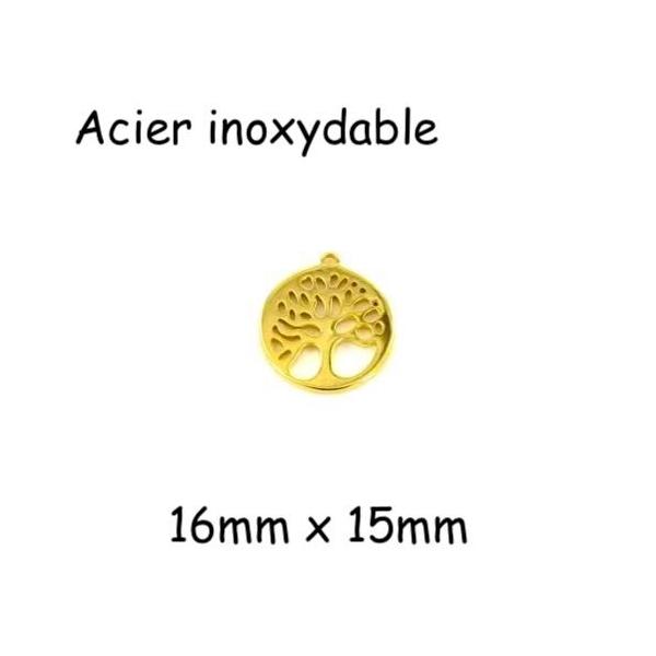 2 Breloques Arbre De Vie Doré En Acier Inoxydable 15mm - Photo n°1