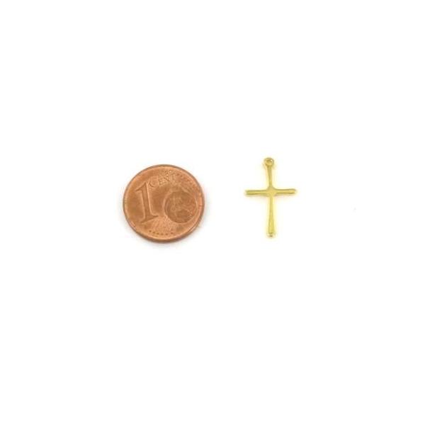 2 Pendentifs Croix Doré En Acier Inoxydable 17mm X 10mm - Photo n°2