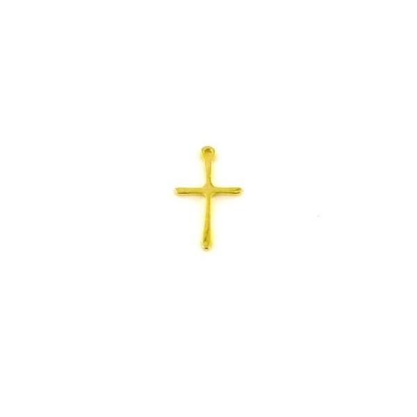 2 Pendentifs Croix Doré En Acier Inoxydable 17mm X 10mm - Photo n°3
