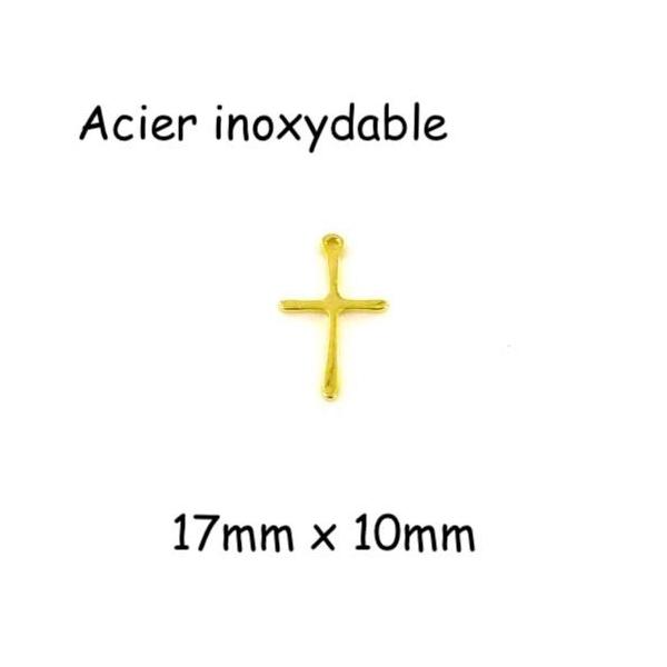 2 Pendentifs Croix Doré En Acier Inoxydable 17mm X 10mm - Photo n°1