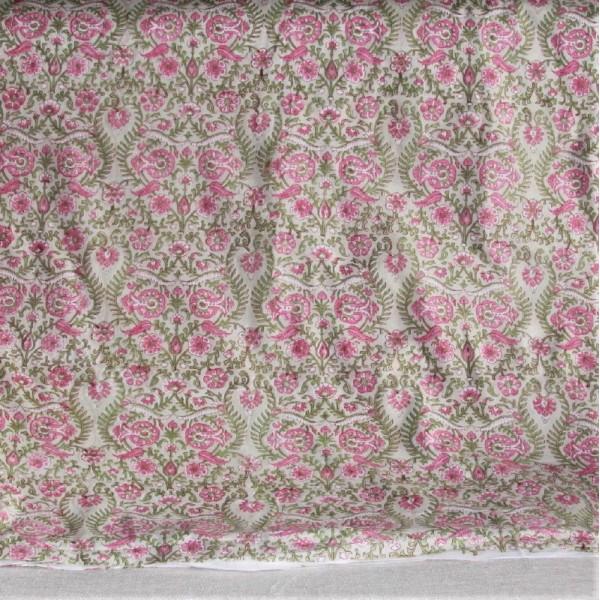 Tissu fleuri vert en voile de coton batik en 110 cm - Photo n°3