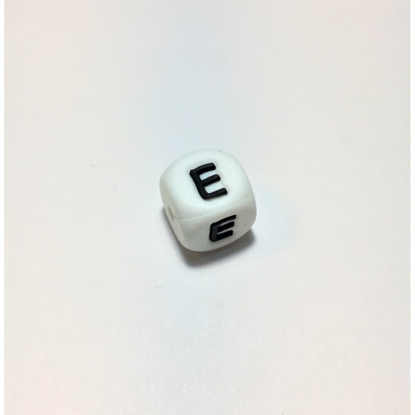 Perle Silicone Lettre Alphabet 12mm Blanc Lettre