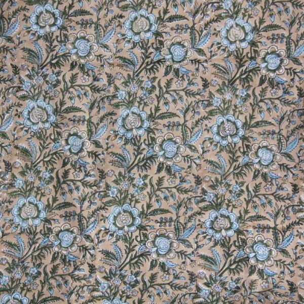 Tissu fleuri beige en voile de coton batik en 110 cm - Photo n°2