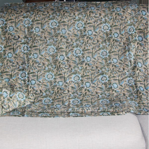 Tissu fleuri beige en voile de coton batik en 110 cm - Photo n°3