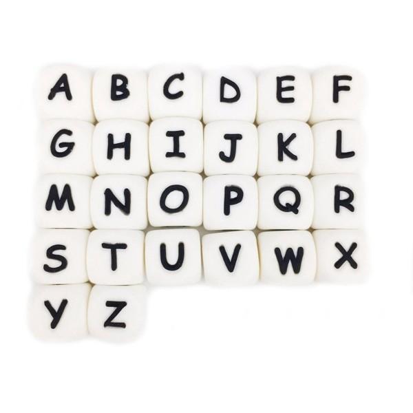 Perles Silicone Lettre Alphabet 12mm Blanc Lettre