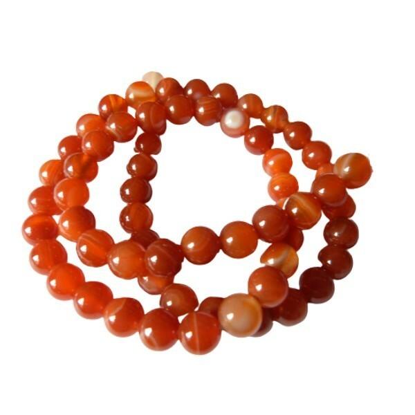 Fil de 60 perles ronde rayé en pierre naturelle AGATE 6 mm ORANGE - Photo n°1