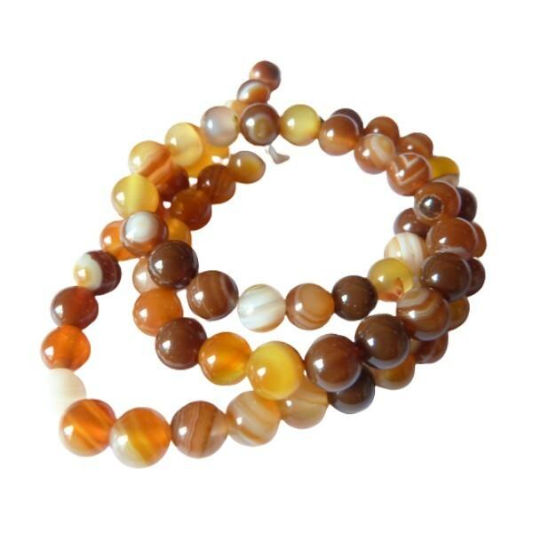 Fil de 60 perles ronde rayé en pierre naturelle AGATE 6 mm MARRON - Photo n°1