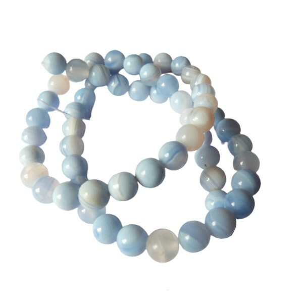 Fil de 60 perles ronde rayé en pierre naturelle AGATE 6 mm BLEU CLAIR - Photo n°1