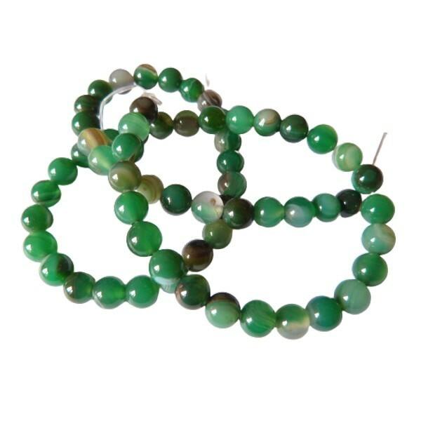 Fil de 60 perles ronde rayé en pierre naturelle AGATE 6 mm VERT - Photo n°1