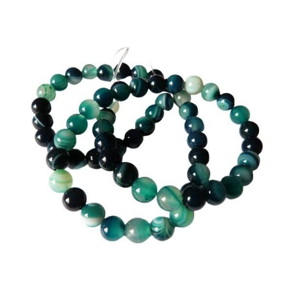 Fil de 60 perles ronde rayé en pierre naturelle AGATE 6 mm VERT 2 - Photo n°1