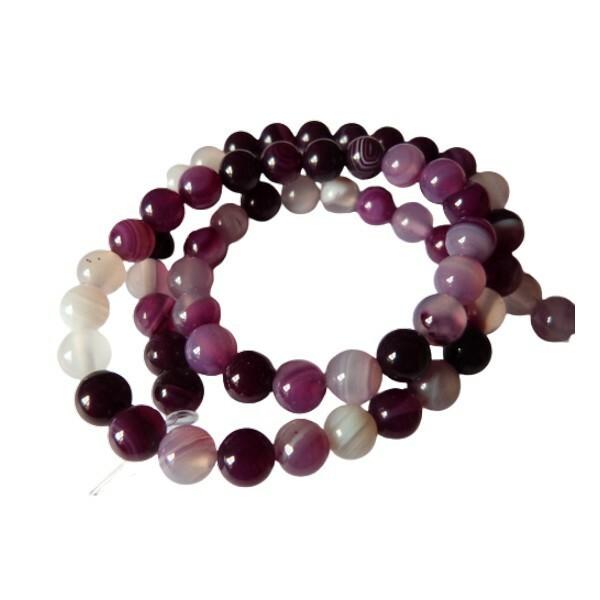 Fil de 60 perles ronde rayé en pierre naturelle AGATE 6 mm MAUVE BLANC - Photo n°1