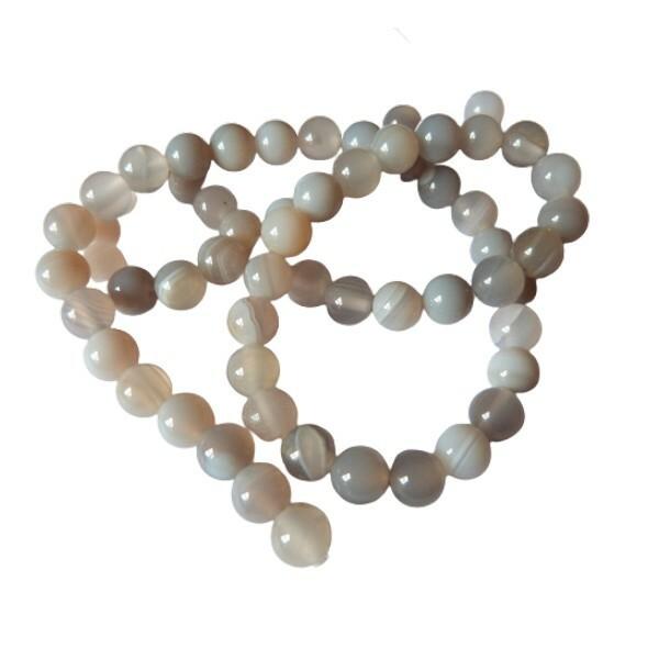 Fil de 60 perles ronde rayé en pierre naturelle AGATE 6 mm GRIS - Photo n°1