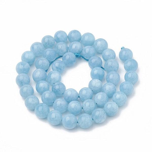 10 perles ronde en pierre naturelle AIGUE MARINE 8 mm BLEU - Photo n°1