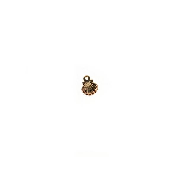 Breloque coquillage 7,5x5,5 mm acier inoxydable doré - Photo n°1