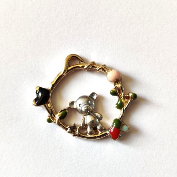 1 Breloque couronne avec un ourson - métal – 22x17mm – b2 - Photo n°1