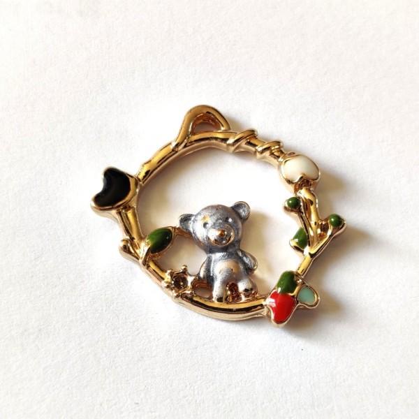 1 Breloque couronne avec un ourson - métal - 22x17mm - b3 - Photo n°1