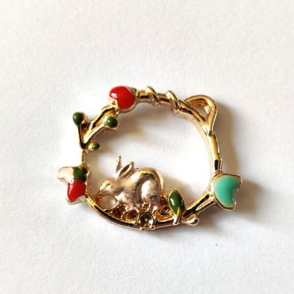 1 Breloque couronne avec un lapin - métal - 22x18mm - b4 - Photo n°1