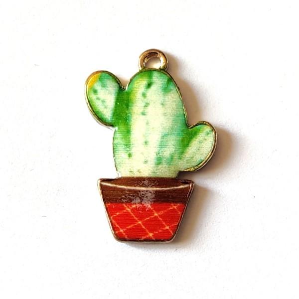 1 Breloque cactus - métal - 23x15mm - b8 - Photo n°1