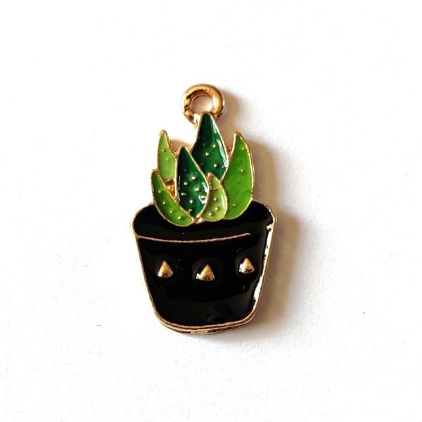 1 Breloque cactus - métal & émail - 23x14mm - b10 - Photo n°1