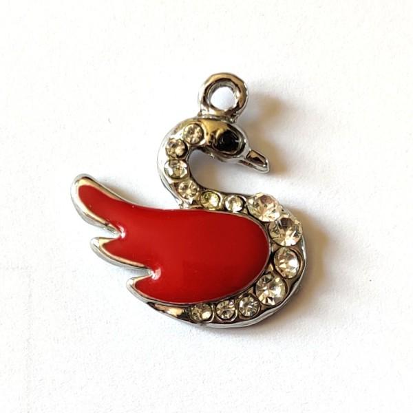 1 Breloque cygne rouge et strass - métal & émail - 25x24mm - b14 - Photo n°1
