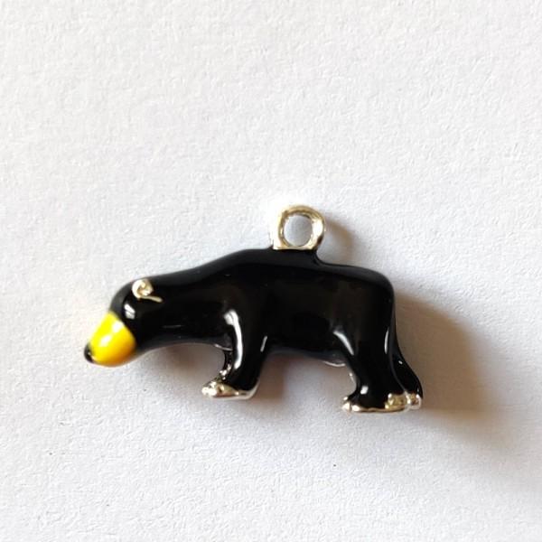 1 Breloque ours noir 3d - métal & émail  - 20x12mm - b25 - Photo n°1