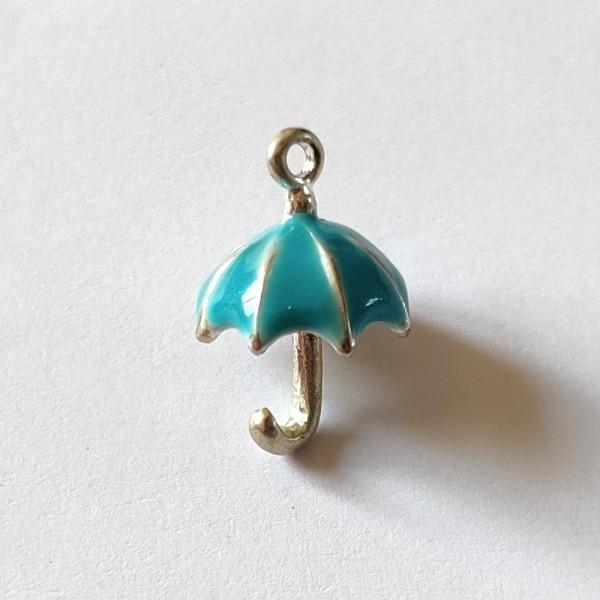 1 Breloque bonbon parapluie bleu 3d - métal & émail  - 12x19mm - b26 - Photo n°1