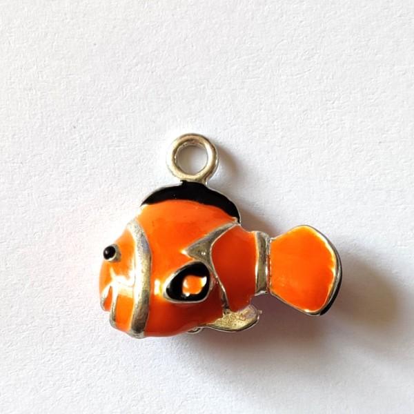 1 Breloque poisson clown orange 3d - métal & émail  - 24x17mm - b28 - Photo n°1