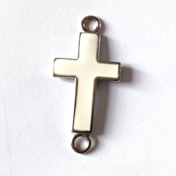 1 Connecteur croix blanche  - métal & émail - 41x20mm - b45 - Photo n°1