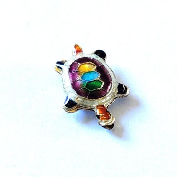1 Perle tortue cloisonnée  - métal & émail - 20x14mm - b49 - Photo n°1