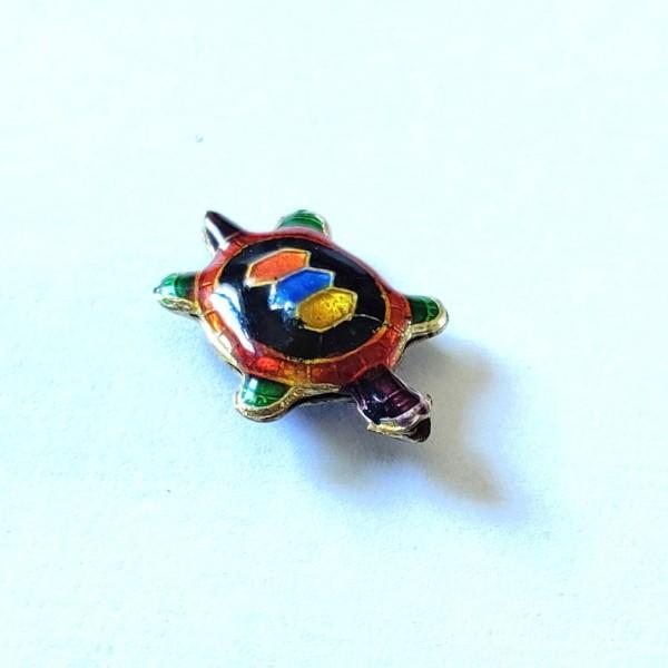 1 Perle tortue cloisonnée  - métal & émail - 20x14mm - b50 - Photo n°1