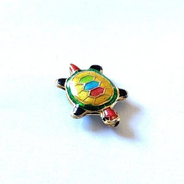 1 Perle tortue cloisonnée  - métal & émail - 20x14mm - b53 - Photo n°1