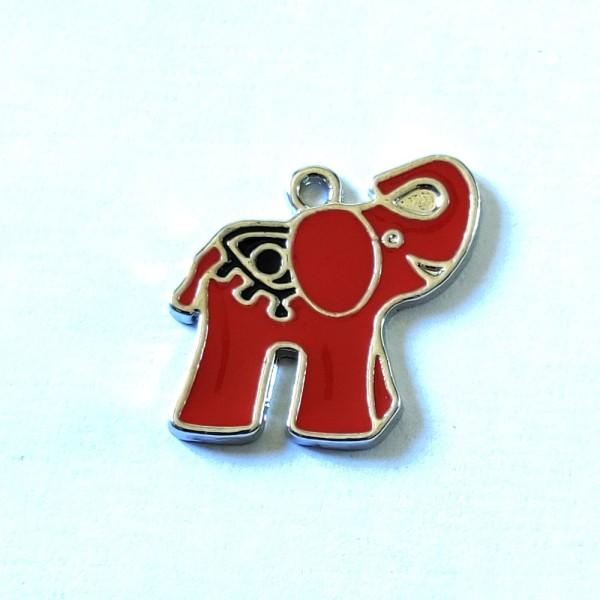 1 Breloque éléphant rouge  - métal & émail - 24x21mm - b58 - Photo n°1