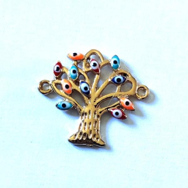 1 Connecteur arbre et oeils  - métal & émail - 30x26mm - b59 - Photo n°1