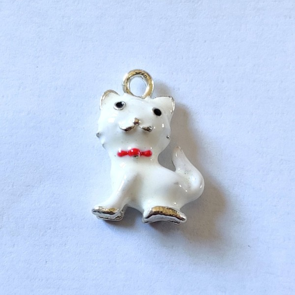 1 Breloque chat blanc 3d - métal & émail - 22x16mm - b64 - Photo n°1