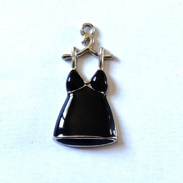 1 Breloque robe noir - métal & émail - 34x17mm - b65 - Photo n°1