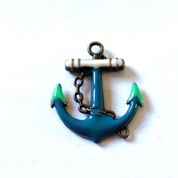 1 Breloque ancre marine bleu - métal & émail - 31x27mm - b67 - Photo n°1
