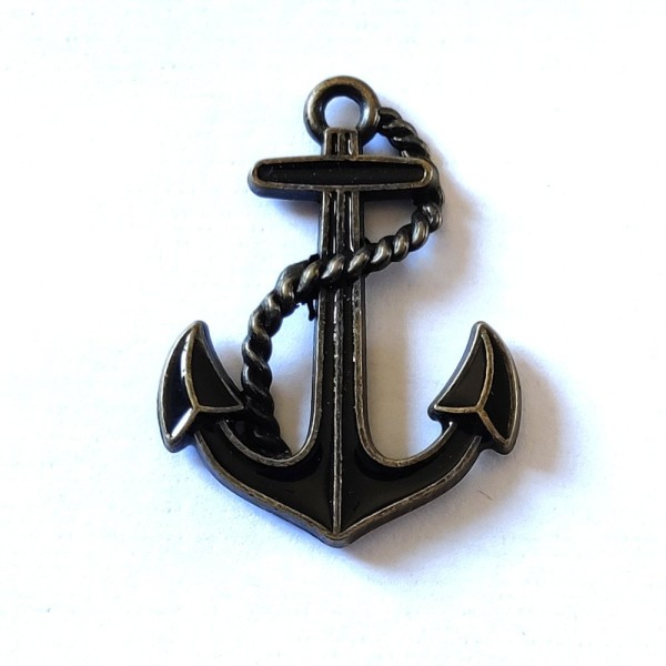 1 Breloque ancre marine noir - métal & émail - 40x30mm - b68 - Photo n°1