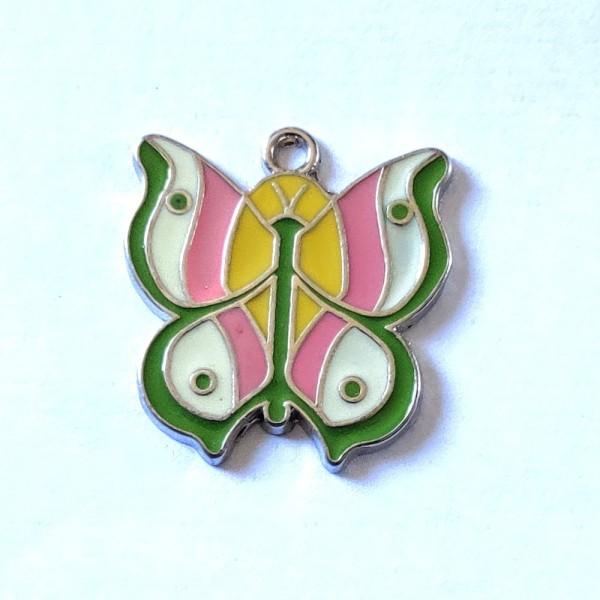 1 Breloque papillon vert - métal & émail - 25x28mm - b70 - Photo n°1