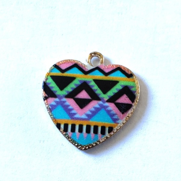 1 Breloque coeur multicolore - métal & émail - 20x19mm - b72 - Photo n°1