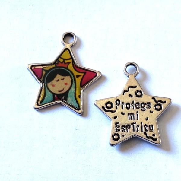 1 Breloque étoile religieuse - métal & émail - 27x22mm - b73 - Photo n°1