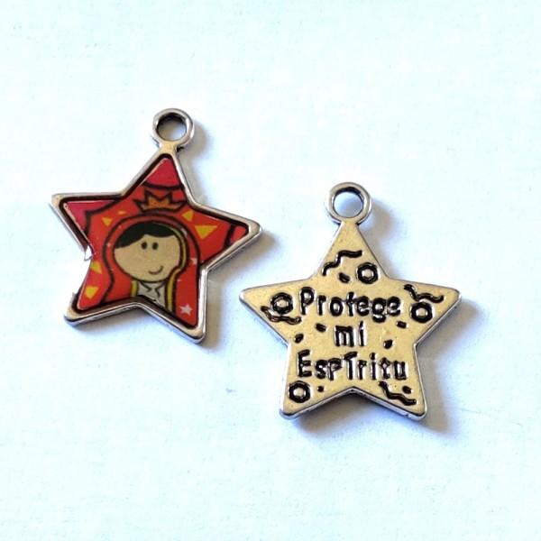 1 Breloque étoile religieuse - métal & émail - 27x22mm – b74 - Photo n°1
